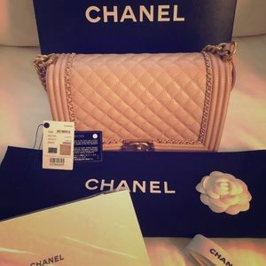 CHANEL Boy New Medium blush leather aged bag
